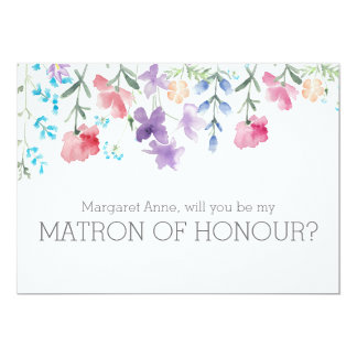 Rustic Floral Will You Be My Matron of Honour Card