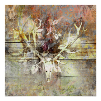 Rustic Floral Wood Grain Stag Skull Antlers Poster