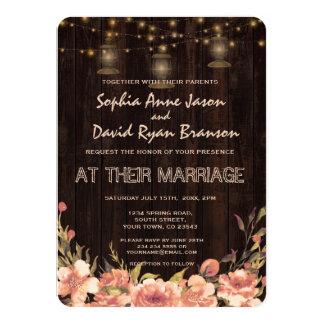 Rustic Floral Wood Old Lanterns Wedding Invite