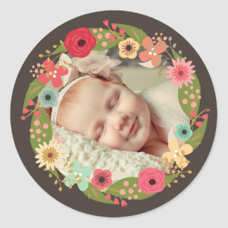 Rustic Floral Wreath Baby Girl Photo Stickers