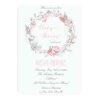 Rustic Floral Wreath Baby Shower Invitation