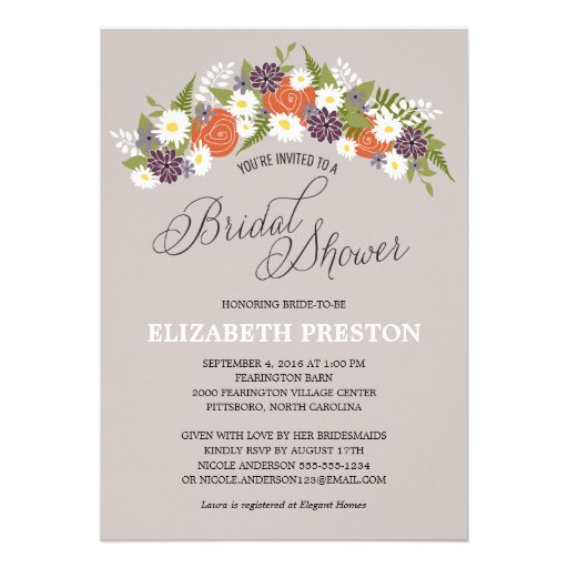 Rustic Floral Wreath Bridal Shower Personalized Invitation
