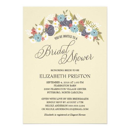 Rustic Floral Wreath Bridal Shower Card