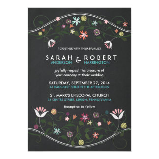 Rustic Floral Wreath Chalkboard Wedding Invitation