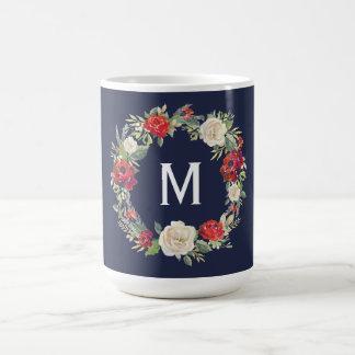 Rustic Floral Wreath Christmas Holiday Gift Navy Coffee Mug