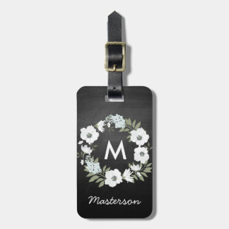 Rustic Floral Wreath Monogram Black and White Luggage Tag