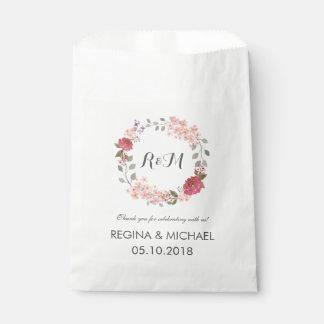 Rustic Floral Wreath Monogram Wedding Favor Bag