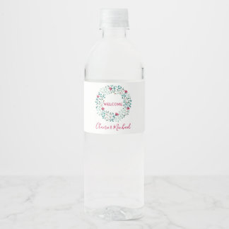 Rustic Floral Wreath  Personalized Wedding Welcome Water Bottle Label