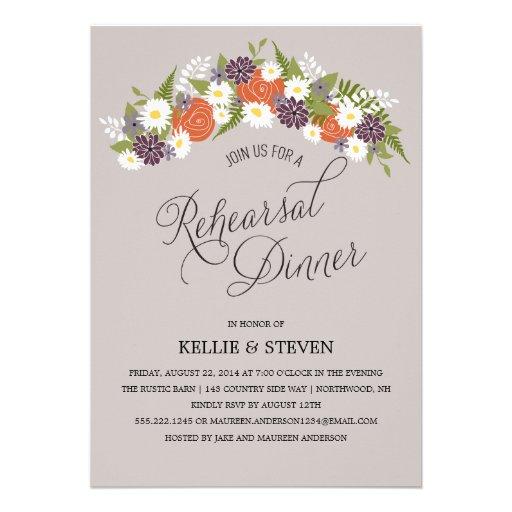 Rustic Floral Wreath Rehearsal Dinner Custom Invite