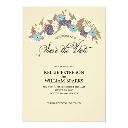Rustic Floral Wreath Save the Date Announcements
