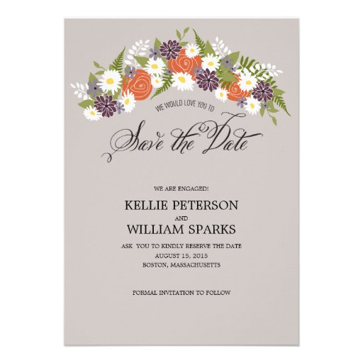 Rustic Floral Wreath Save the Date Personalized Announcement