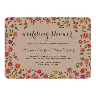 Rustic Floral Wreath Wedding Shower 13 Cm X 18 Cm Invitation Card