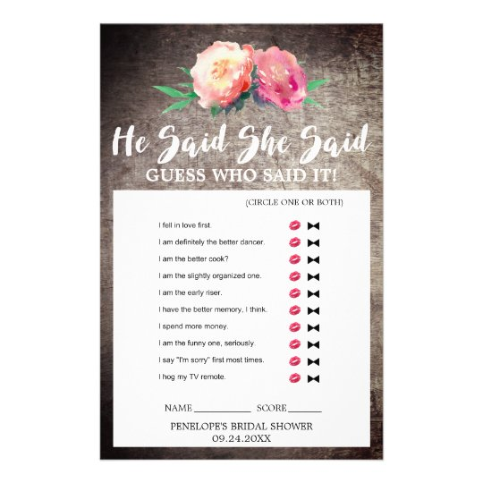 """Rustic Flower Bouquet """"He Said She Said"""" Quiz Game Flyer"""