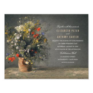 Rustic Flower Vase Painting 4.25x5.5 Wedding 11 Cm X 14 Cm Invitation Card