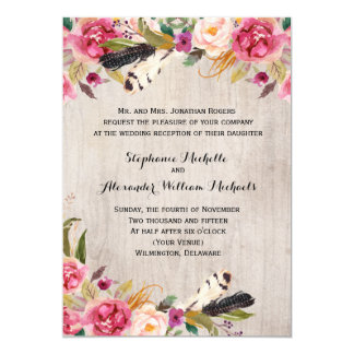 Rustic Flowers and Feathers Recption Only Card