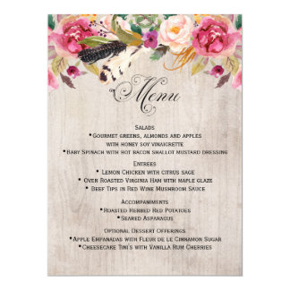 Rustic Flowers and Feathers Wedding Menu Card
