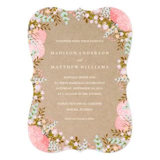 Rustic Flowers Border | Wedding Invitation