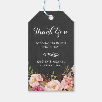 Rustic Flowers Chalkboard Decor Wedding Thank You Gift Tags