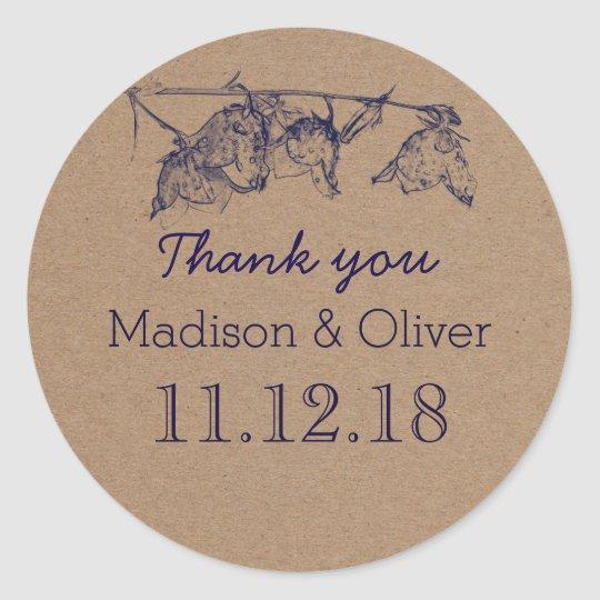 Rustic Flowers Country Wedding Thank You Round Sticker