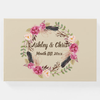 Rustic Flowers Guest Book Boho Floral Guest Book