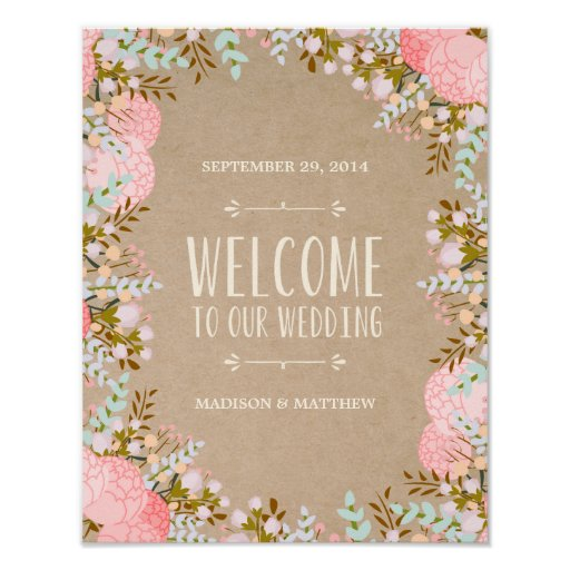 Rustic Flowers | Wedding Reception Sign Print