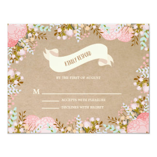 Rustic Flowers | Wedding Response Card 11 Cm X 14 Cm Invitation Card