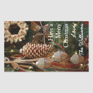 Rustic Forest Christmas Holiday Ornaments Rectangular Sticker