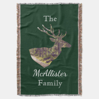 Rustic Forest Deer Buck Hunting Family Name