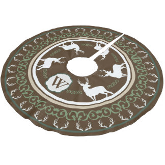 Rustic Forest Deer Silhouettes & Antlers Monogram Brushed Polyester Tree Skirt