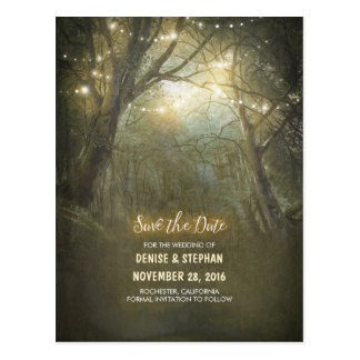 Rustic Forest Light Strings Save The Date Postcard