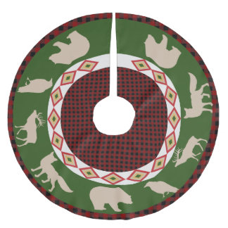 Rustic Forest Lodge & Woodland Animals Holiday Brushed Polyester Tree Skirt