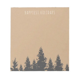 Rustic Forest Silhouette Happy Holidays Notepad