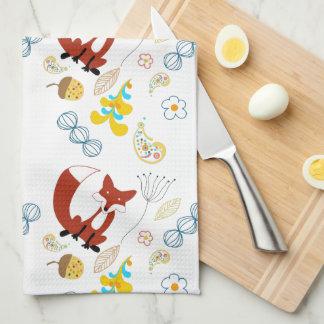Rustic Forest Woodland Animals Fox Pattern Tea Towel