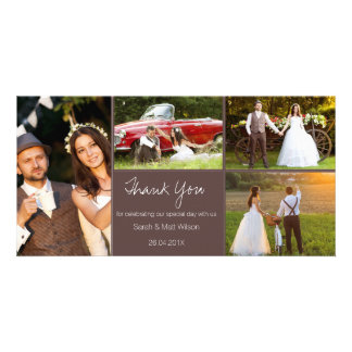 Rustic Four Photo Wedding Thank You Photocard Personalised Photo Card