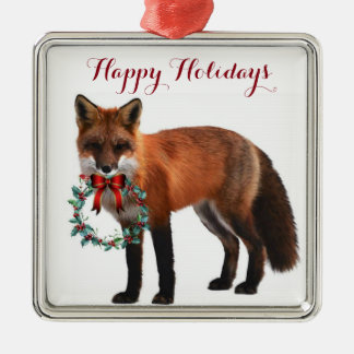 Rustic Fox Square Metal Christmas Ornament
