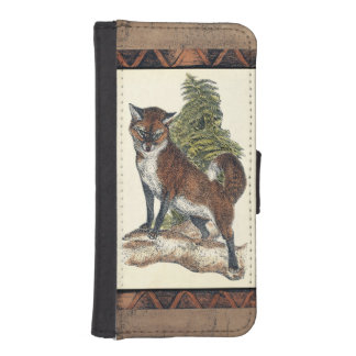 Rustic Fox Stepping on a Tree Trunk