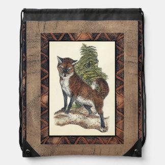 Rustic Fox Stepping on a Tree Trunk Drawstring Bag