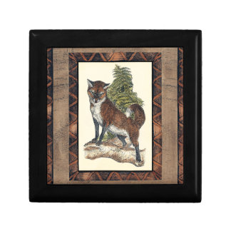 Rustic Fox Stepping on a Tree Trunk Gift Box