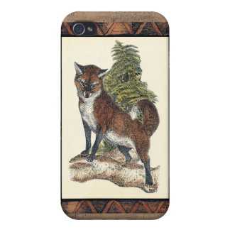Rustic Fox Stepping on a Tree Trunk iPhone 4 Case