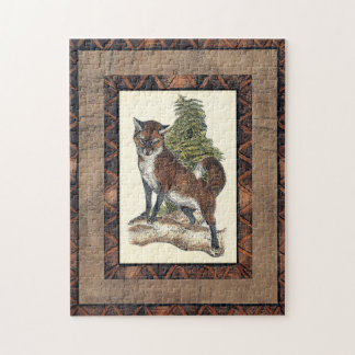 Rustic Fox Stepping on a Tree Trunk Jigsaw Puzzle