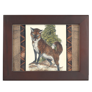 Rustic Fox Stepping on a Tree Trunk Keepsake Box
