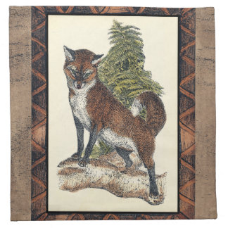 Rustic Fox Stepping on a Tree Trunk Napkin