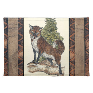 Rustic Fox Stepping on a Tree Trunk Placemat
