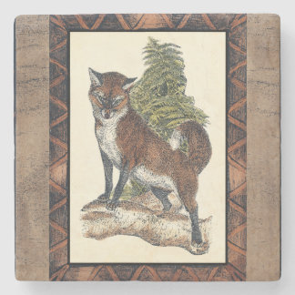 Rustic Fox Stepping on a Tree Trunk Stone Coaster