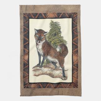 Rustic Fox Stepping on a Tree Trunk Tea Towel