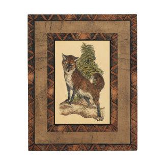 Rustic Fox Stepping on a Tree Trunk Wood Wall Art