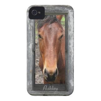 Rustic Framed Horse Head, Personalize iPhone 4 Case-Mate Case