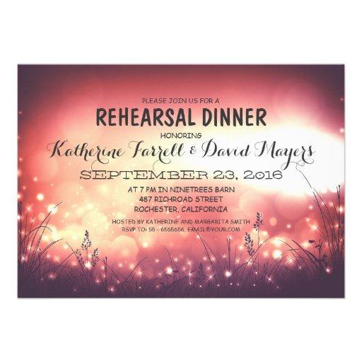 Rustic Garden Lights Romantic Rehearsal Dinner Cards