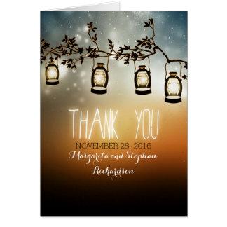 rustic garden lights wedding thank you cards