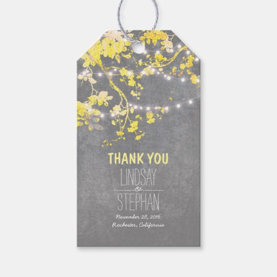 Rustic Garden String Lights Branch Yellow Wedding Gift